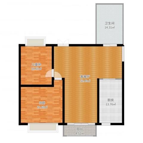 天和湾2室2厅1卫1厨152.00㎡户型图