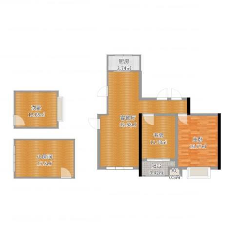 观景苑3室2厅1卫2厨123.00㎡户型图