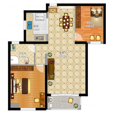 绿地国际花都1室2厅2卫1厨94.00㎡户型图