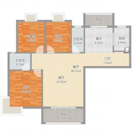 明珠广场3室1厅2卫1厨90.88㎡户型图