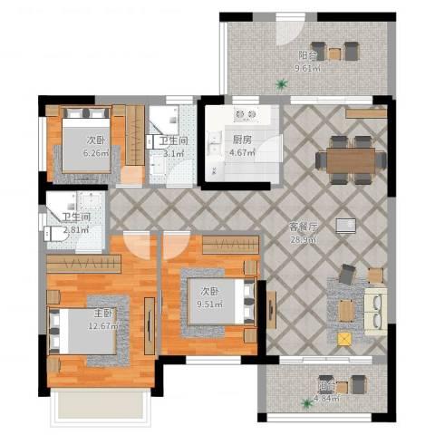 优越香格里2期2幢3室2厅2卫1厨103.00㎡户型图