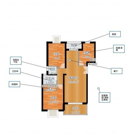 BOBO自由城一期3室2厅1卫1厨97.00㎡户型图