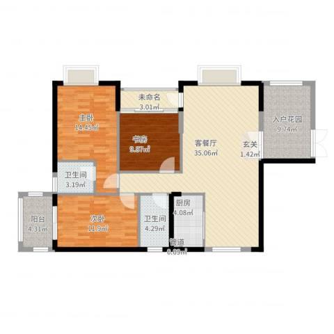 景山一号3室2厅2卫1厨141.00㎡户型图