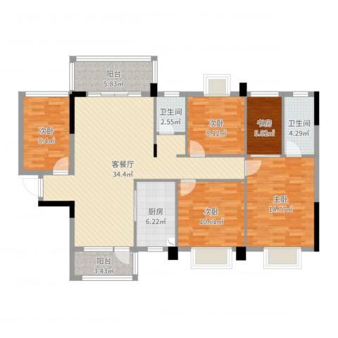 祥和新城5室2厅2卫1厨103.65㎡户型图