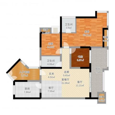 金辉融侨半岛香弥山1号3室2厅2卫1厨131.00㎡户型图