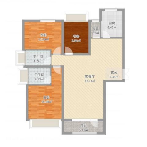 保利・香槟花园3室2厅2卫1厨125.00㎡户型图