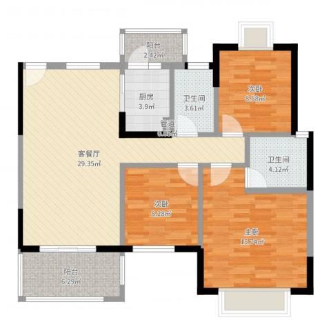 江滨花园五六期3室2厅2卫1厨103.00㎡户型图