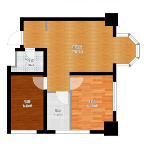 中海国际公寓2室2厅1卫1厨67.00㎡户型图