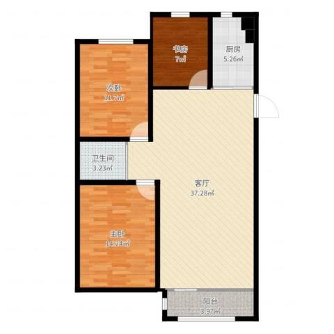 英伦小镇3室1厅1卫1厨103.00㎡户型图
