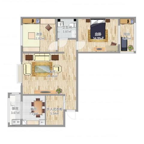 金华怡园2室2厅1卫1厨100.00㎡户型图