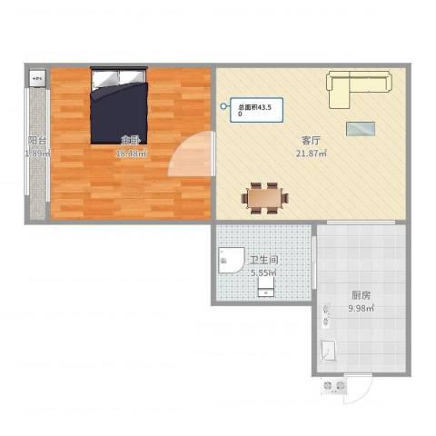 昭化小区1室1厅1卫1厨72.00㎡户型图