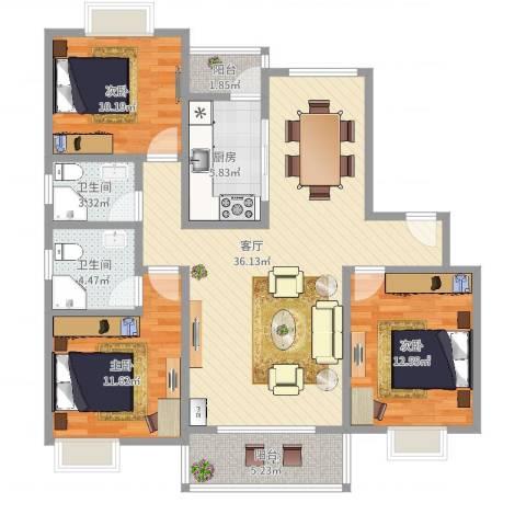 恒大翰城瀚锦苑3室1厅2卫1厨114.00㎡户型图