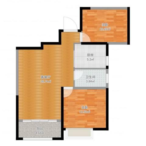 首开常青藤2室2厅1卫1厨78.00㎡户型图
