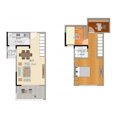 松苑雅居2室1厅2卫1厨85.00㎡户型图