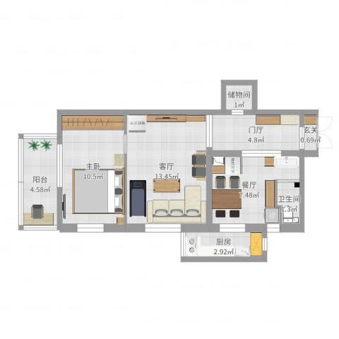 磨房南里1室2厅1卫1厨58.00㎡户型图