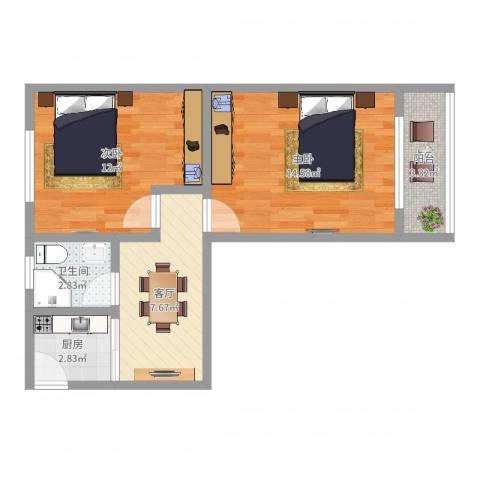 纺平大楼2室1厅1卫1厨54.00㎡户型图