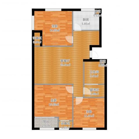 新业美居3室2厅1卫1厨112.00㎡户型图