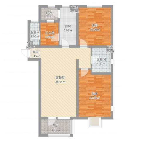 新梅香苑2室2厅2卫1厨97.00㎡户型图