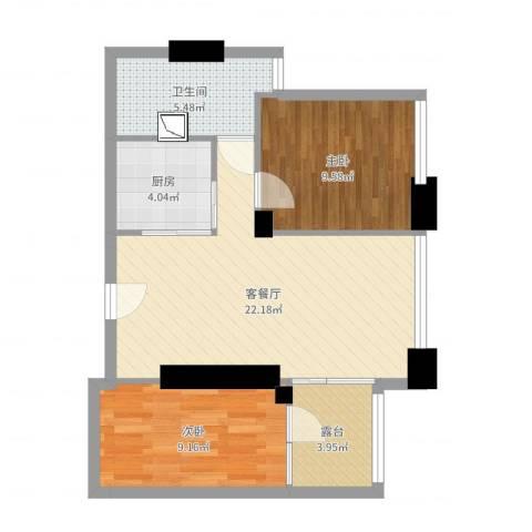 大东门华庭15032室2厅1卫1厨80.00㎡户型图