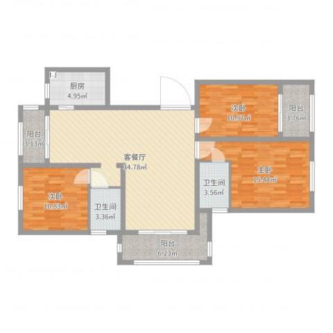 同城世家3室2厅2卫1厨121.00㎡户型图