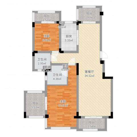 悦上海2室2厅2卫1厨88.87㎡户型图