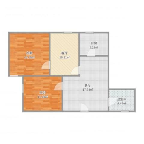 遵义西大楼2室2厅1卫1厨79.00㎡户型图