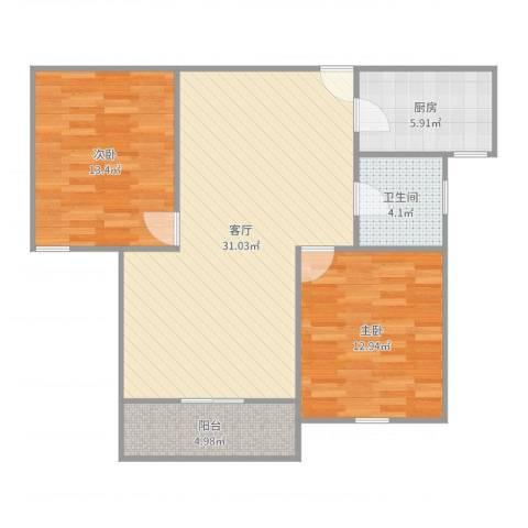 遵义路757弄小区2室1厅1卫1厨90.00㎡户型图