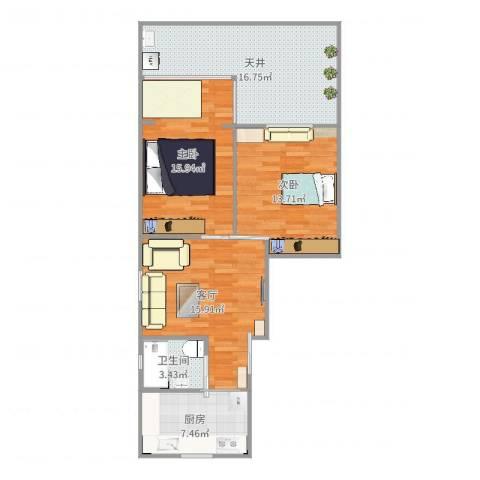 紫竹小区2室1厅1卫1厨91.00㎡户型图