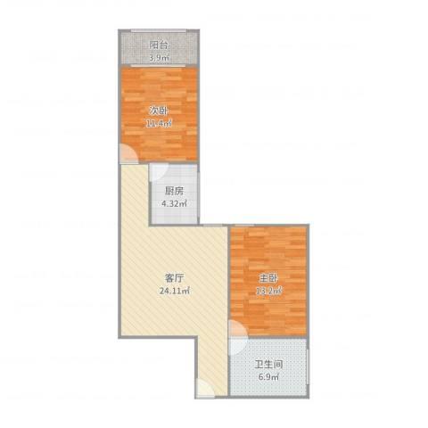 中银大楼2室1厅1卫1厨80.00㎡户型图