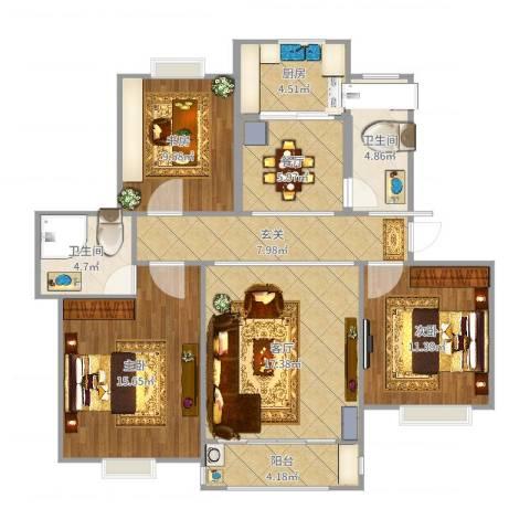 淀山湖花园3室2厅2卫1厨108.00㎡户型图