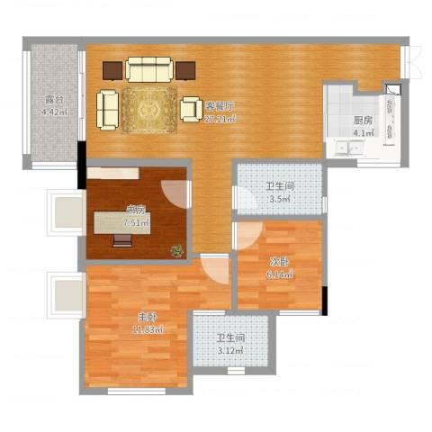 蓝湾半岛3室2厅2卫1厨85.00㎡户型图