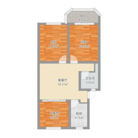 中包公寓3室2厅1卫1厨81.00㎡户型图