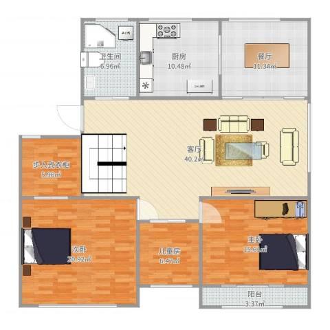 中包公寓3室2厅1卫1厨152.00㎡户型图