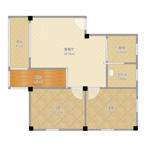 洛溪吉祥北园A区3室2厅1卫1厨69.00㎡户型图