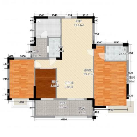 河西花园3室2厅2卫1厨141.00㎡户型图