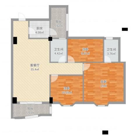 豪岗新村3室2厅2卫1厨122.00㎡户型图