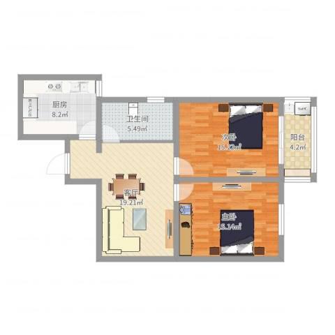 大众汽车公寓2室1厅1卫1厨67.46㎡户型图