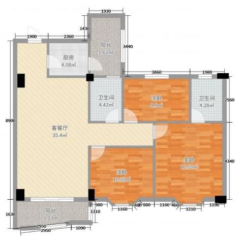 豪岗新村3室2厅2卫1厨115.00㎡户型图