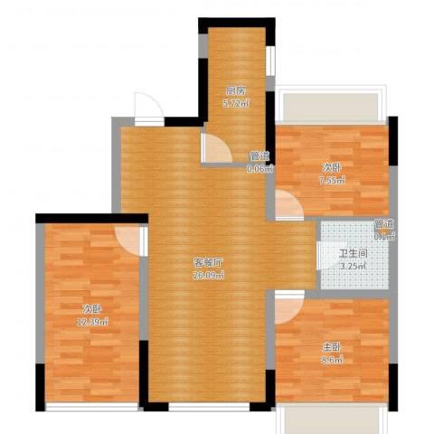 郡原小石城3室2厅1卫1厨80.00㎡户型图