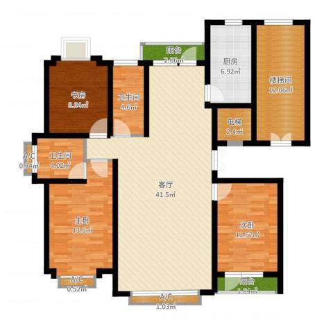 四季花城3室1厅2卫1厨139.00㎡户型图