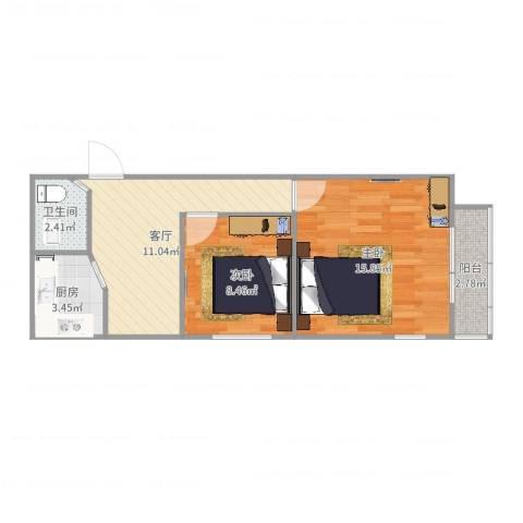 裕中西里2室1厅1卫1厨55.00㎡户型图