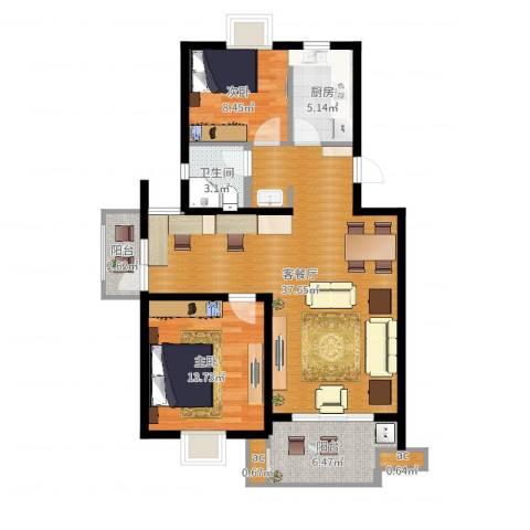 仙林诚品城2室2厅1卫1厨98.00㎡户型图