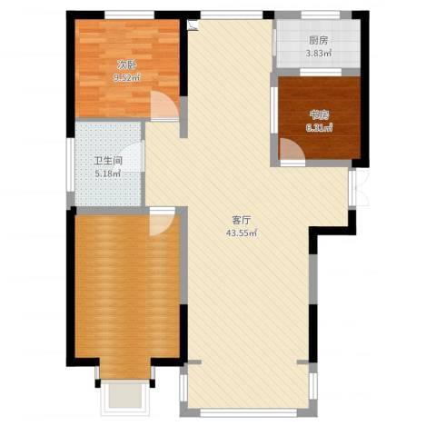 紫金江尚2室1厅1卫1厨104.00㎡户型图