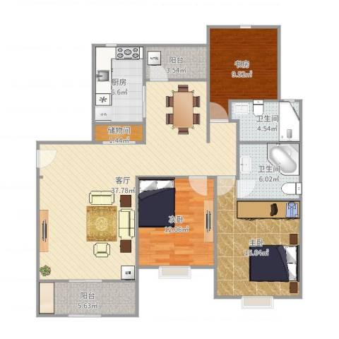 绿地21城C区3室1厅2卫1厨128.00㎡户型图