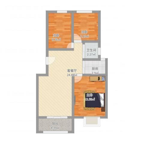 月明苑3室2厅1卫1厨92.00㎡户型图