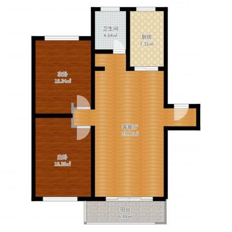 恒大翰城瀚林苑2室2厅1卫1厨112.00㎡户型图