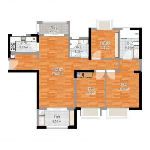 永安公寓3室2厅2卫1厨106.00㎡户型图