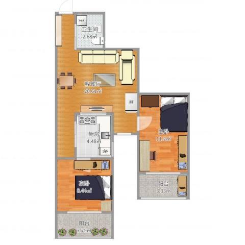 都市馨园2室2厅1卫1厨68.00㎡户型图