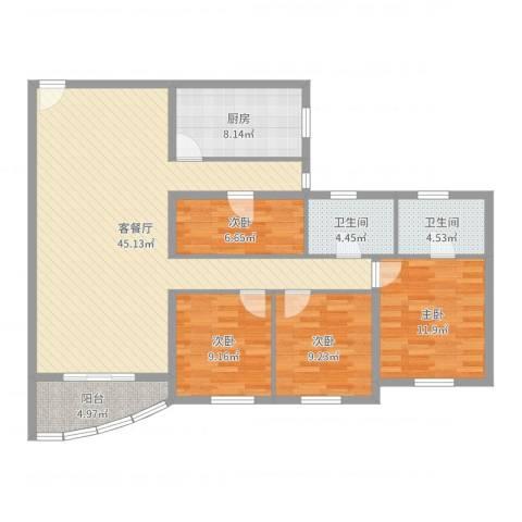 兴联大厦4室2厅2卫1厨130.00㎡户型图