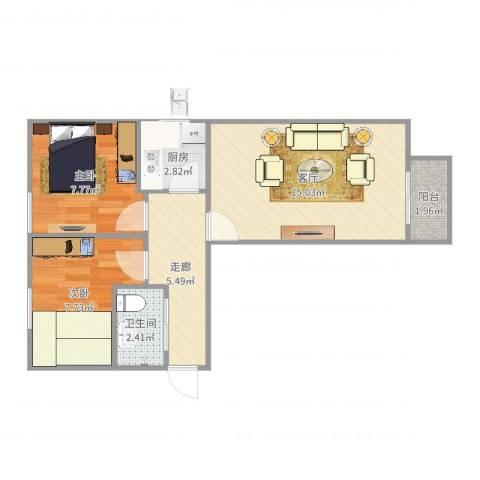 天坛西里东区2室1厅1卫1厨54.00㎡户型图